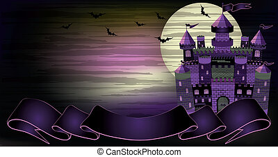 Old witch haunted castle banner