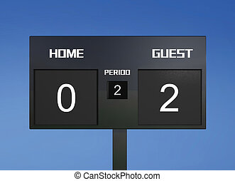 soccer scoreboard score 0 & 2 - soccer match scoreboard...