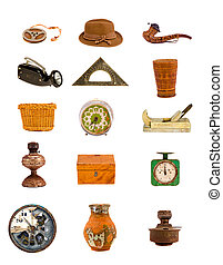 various antique tools and objects