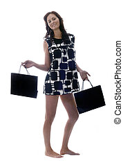 model with shopping bags
