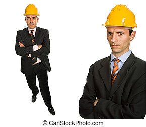 engineers - two workers isolated in a white background