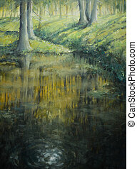 Pond in sunrise forest.Picture painted with oil colours.
