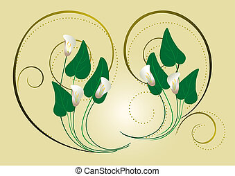 Calla flowers with the decor of spi