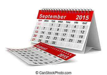 2015 year calendar September Isolated 3D image