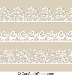 Set of lace vector borders - Set of white lace vector...