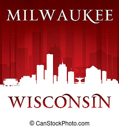 Milwaukee Wisconsin city skyline silhouette red background -...