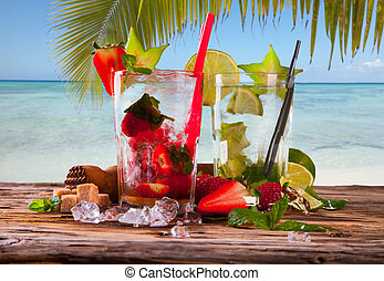Summer drink - Summer strawberry and lime cocktails , drink...