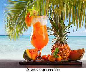 Summer drink - Summer orange cocktail , drink with fresh...