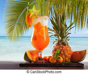Summer drink - Summer orange cocktail , drink with fresh...
