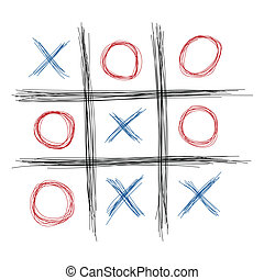 Tic Tac Toe - Scribble tic tac toe illustration