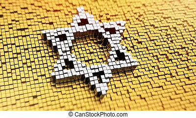 Pixelated Magen David - Pixelated symbol of Magen David made...