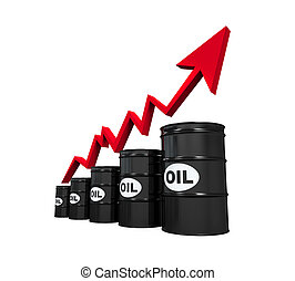 Oil Barrels with Red Arrow