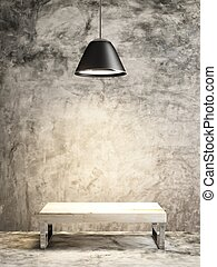 wood bench and lamp of interior concept