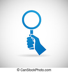 Search Symbol Hand Hold Magnifying Glass Silhouette Icon...