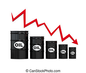 Oil Barrels with Red Arrow isolated on white background. 3D...