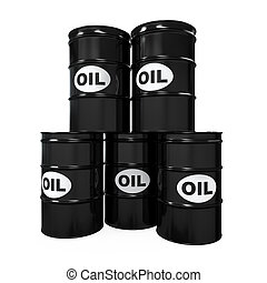Oil Barrels Isolated on white background. 3D render