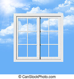 Window - White window with blue sky with clouds and sun