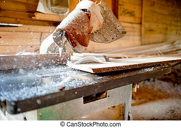 wood sawing and cutting at local industrial wood processing