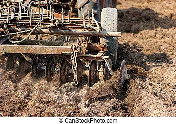 close-up, agricultura, Colher, cultivar, usando, arado