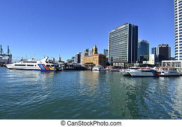Auckland, transbordador, terminal, -, nuevo, Zealand