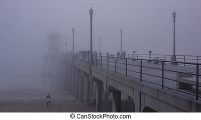 Huntington Beach Pier Fog - Fog covers The Huntington Beach...