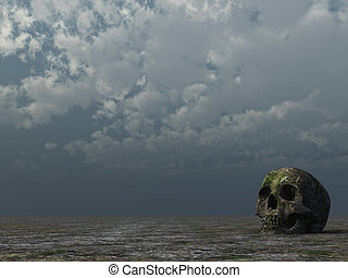 rotten skull in desert and cloudy sky - 3d illustration