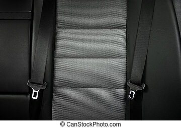 close up safety belt in a rear seat or bench of modern car