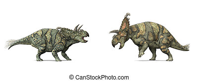 Dinosaur Albertaceratops - Computer generated 3D...