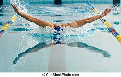 joven, hombre, natación, gorra, gafas de protección, Nade,...