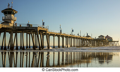 Huntington Beach Pier HDR - Huntington Beach Pier reflecting...