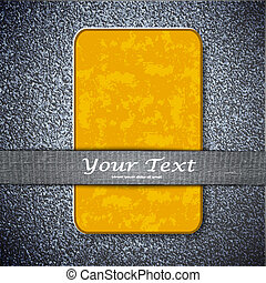 Orange card  texture on a metal background with place for your t