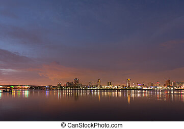 Long Beach City Lights - Long Beach cityscape at night