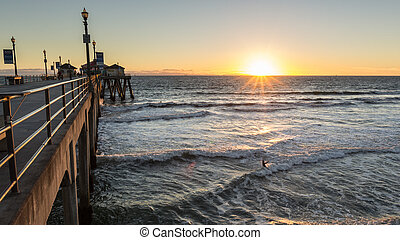 Huntington Beach Pier Sunset - Set setting along the...
