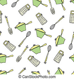 Seamless cute pattern with kitchen items. Vector...