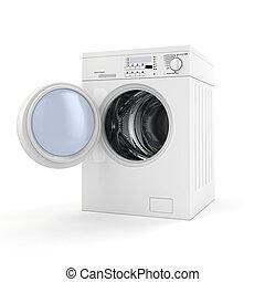 3d washing machine on white background
