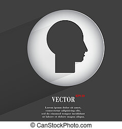 silhouette of the head. Flat modern web button with long shadow and space for your text