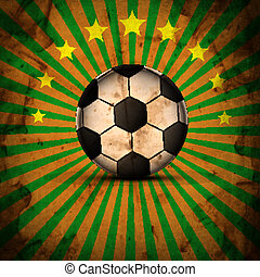 Retro Illustration football card in Brazil flag colors...