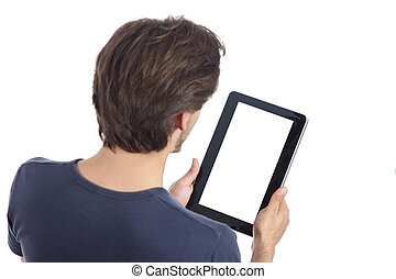 Top view of a man reading a tablet showing its blank screen...
