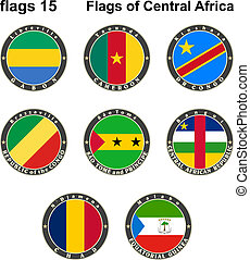 World flags. Central Africa.