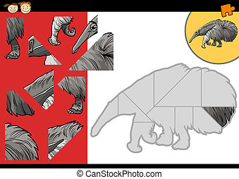 cartoon anteater jigsaw puzzle game - Cartoon Illustration...