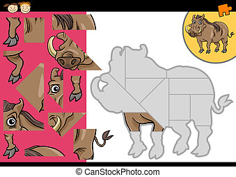 cartoon warthog jigsaw puzzle game - Cartoon Illustration of...