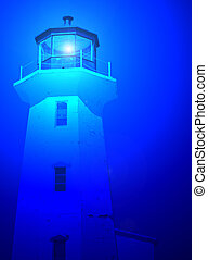 Blue lighthouse - Scenic lighthouse with lighting affect