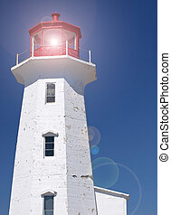Full lighthouse flare - Scenic lighthouse with lighting...