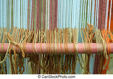 colored wool thesis in ancient textiles weaving loom - row...