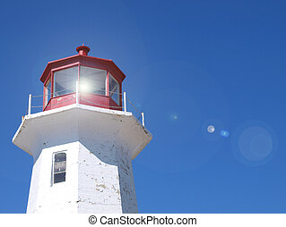 Lighthouse with flare - Scenic lighthouse with lighting...