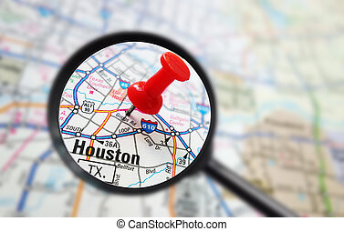 Houston map - Closeup of a Houston, Texas map with red pin...