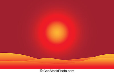Desert at sunset - Vector illustration of desert landscape...