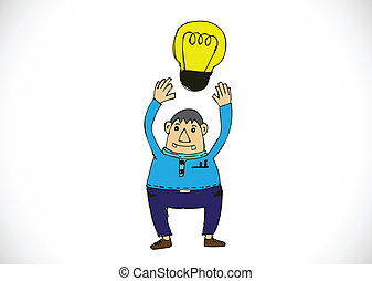 Cartoon man thinking style illustration