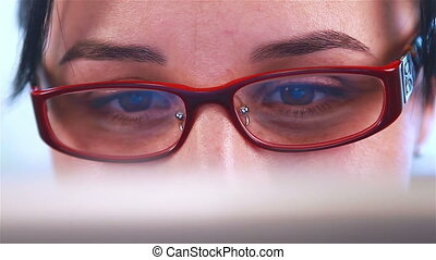 Businesswoman working on device - Businesswoman with glasses...