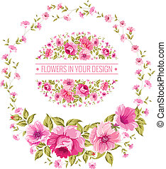 Luxurious color peony label - Luxurious vintage card of...